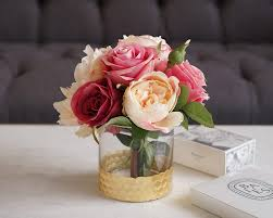 Peony Arrangement Faux Rose And Peony Arrangement In Glass Vase Medablooms