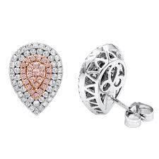 diamond stud earrings for women teardrop 14k gold designer white pink diamond stud earrings for
