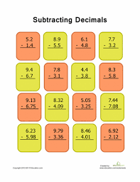 decimal subtraction practice 1 decimal worksheets and articles