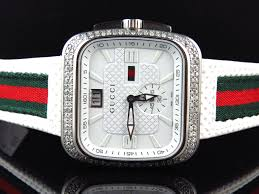 Red Flag Band Mens White Gucci Coupe Red Green Flag Band Diamond Sports Watch