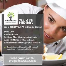 sous chef de cuisine definition we are hiring for a resort and spa in umm al quwain demi chef