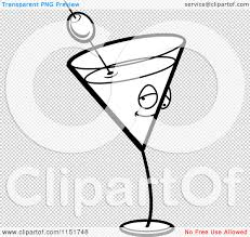 martini olive vector cartoon clipart of a black and white martini character vector