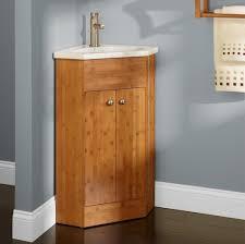 Corner Bathroom Sink Vanity Bathroom Solid Wood Corner Bathroom Vanity With White Vessel Sink