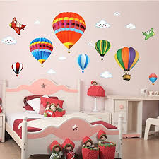 Amaonm Removable Creative D Hot Air Balloon Aircraft And Smile - Kids room wall decoration