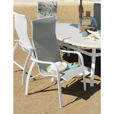 High Back Sling Patio Chairs Homecrest Holly Hill Sling 7 Piece Patio Dining Set With Faux