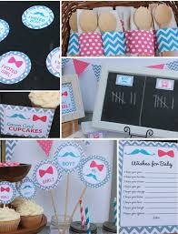 mustache bow gender reveal party decorations blue pink gr71