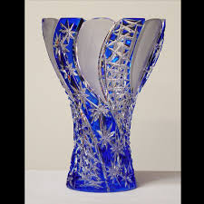 Colored Crystal Vases Crystal Vases Pair Of Art Deco Bohemia Crystal Vases In The