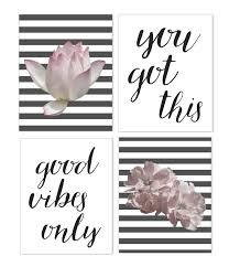 Living Room Art Sets Amazon Com Good Vibes Only Motivational Words And Flower Poster