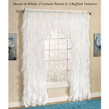 Gypsy Ruffled Shower Curtain Cascade Sheer Voile Ruffled Window Treatment