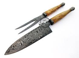 damascus chef knives set custom handmade damascus steel kitchen