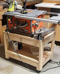diy table saw stand with wheels easy steps to follow made adjustments being that i m using it as a