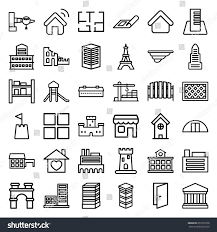 barn plan architecture icons set set 36 architecture stock vector 653167978