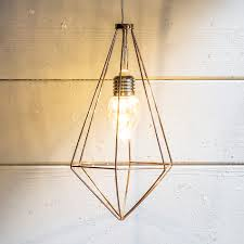 Geometric Pendant Light by Copper Geometric Diamond Battery Pendant Light Lights4fun Co Uk
