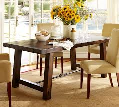 benchwright fixed dining table pottery barn