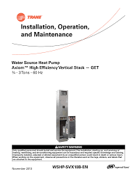 trane vertical stack wshp installation and maintenance manual