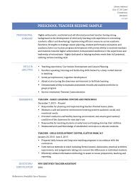 Sample Career Objective For Teachers Resume by Resume Preschool Teacher Resume For Your Job Application