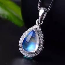 blue gem necklace images Natural blue moonstone pendants 925 sterling silver natural gem jpg