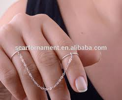 top finger rings images Top latest design ladies two finger rings with chain dubai gold jpg