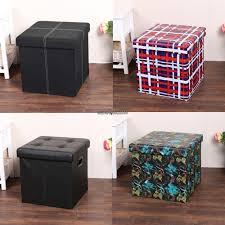 Ottoman Cube Cube Pvc Leather Folding Ottoman Pouffe Seat Foot Stool Storage