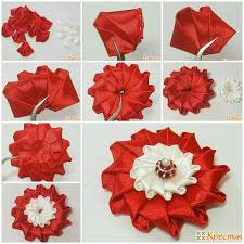 satin ribbon flowers diy bright satin ribbon flower flower fabric flowers and craft
