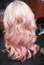 blonde hair light pink highlights hair and model