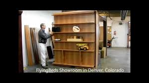 queen size murphy bed with shelves and folding table youtube