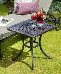 green metal outdoor table hartman capri square side table metal garden furniture hayes