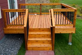 simple relatively inexpensive cedar deck with aluminum hybrid