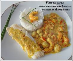 cuisiner merlan filets de merlan et sauce crémeuse aux tomates crevettes et