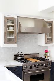 gray oak glass cabinet doors on white cabinets transitional