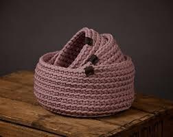 Bathroom Basket Storage by Crochet Basket With Cover Decorative Basket Bathroom Basket