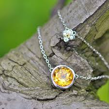 sterling silver stone necklace images Stone of mind trendy bijou 2 75ct 100 genuine natural yellow jpg