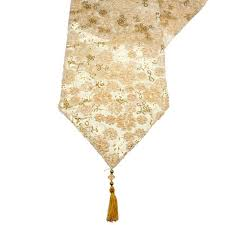 gold christmas table runner cream gold opulent table runner with tassels 30cm x 182cm