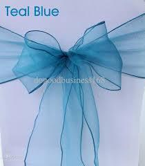 teal chair sashes 2017 teal blue organza chair sash wedding chair bow sash from