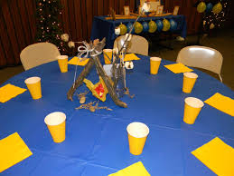 banquet centerpieces controlling craziness blue and gold banquet
