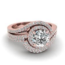 gold wedding rings sets swirl diamond halo wedding ring set in 14k gold