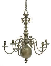 Antique Chandeliers 19th Century Solid Brass Dutch 6 Arm Chandelier 1350