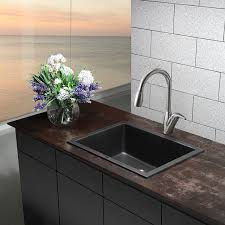 Kraus KGDB   Inch Dual Mount Single Bowl Black Onyx - Black granite kitchen sinks
