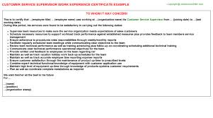 customer service supervisor work experience certificate