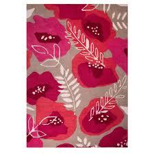 contemporary floral raspberry red wool rug meraki kukoon