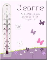 thermomètre mural chambre bébé thermomètre fixé sur bois personnalisé avec fleurs et papillons