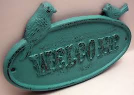 bird cast iron welcome sign shabby chic turquoise aqua home decor