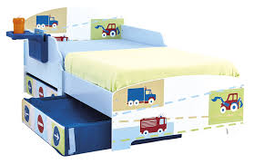Toddler Bed Frame With Storage Hellohome Vehicles Toddler Bed With Underbed Storage U0026 Shelf