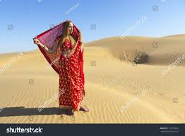 thar desert young woman saree thar desert rajasthan stock photo 103519694