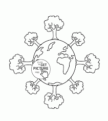 trees on earth earth day coloring page for kids coloring pages