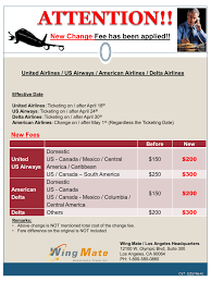 united airlines change fees new airline change fee wing mate altour