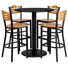 Pub Table And Chairs Set Set Of 10 Round High Top Restaurant Cafe Bar Table And Wood Seat
