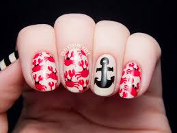 crab print and nautical mix chalkboard nails nail art blog