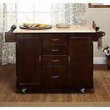 kitchen cart portable island wood top with metal shelves rolling