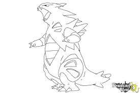 how to draw mega tyranitar from pokemon x u0026 y drawingnow